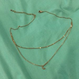 """Gold stacked """"j"""" necklace"""